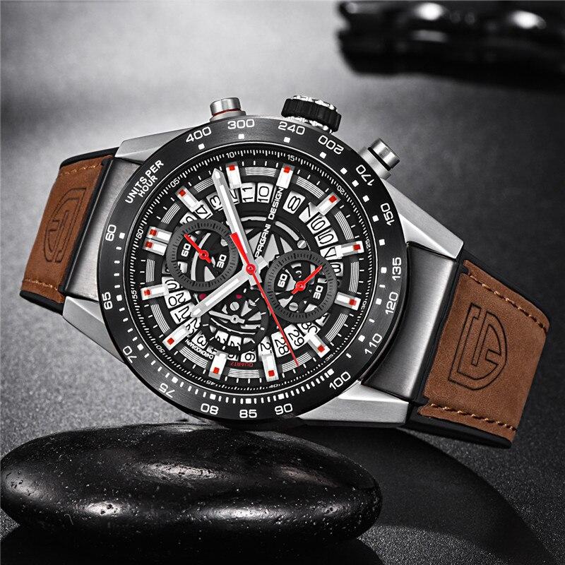 PAGANI Ontwerp Heren Horloges Topmerk Luxe Militaire Horloge Mannen Quartz Lederen Band Staal Waterdicht Horloge Klok Man-in Mechanische Horloges van Horloges op  Groep 3