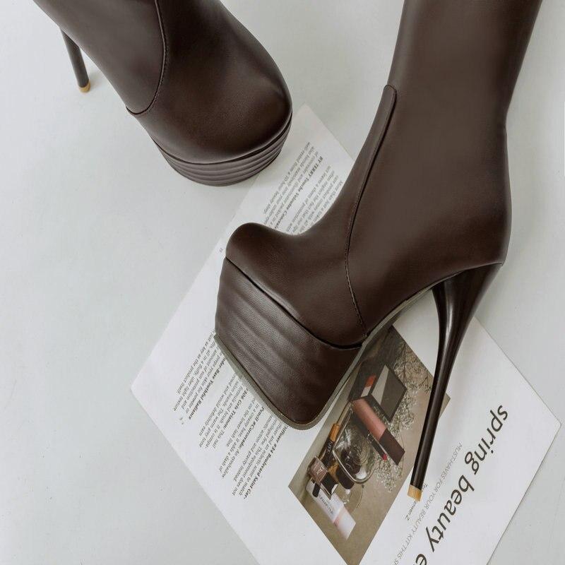 Botas Otoño Alto Primavera blanco Casual Mujer De La Tacón marrón Sobre Cm Rodilla 2019 14 Fiesta Negro Mujeres Zapatos Erógena Moda Super twfWBqE