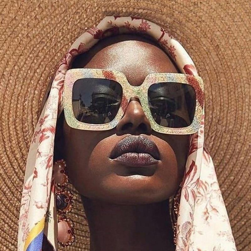 Винтаж Квадратные Солнцезащитные очки для женщин 2018 Для мужчин модный кошачий глаз солнцезащитные очки для женщин тенденция бренд Для женщин Радуга Цвет оправа, очки Oculos De Sol masculino