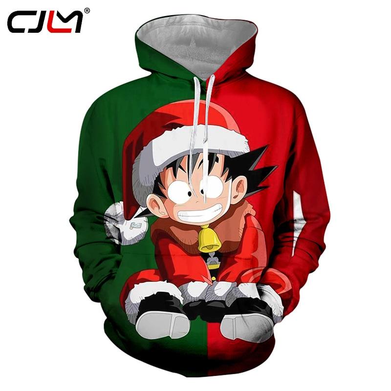 d66c732aec9c CJLM Christmas Sweatshirts 2018 Fashion Men Winter Regular Printed Dragon  Ball Z Goku 3d Hoodies Sweatshirt With Long Drawstring