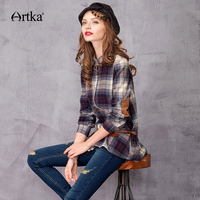 ARTKA Women's Autumn Shirts 2018 Patchwork Plaid Shirt Women Casual Long Shirt Female Basic 100% Cotton Plus Size Shirt SA10120D