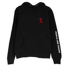 People Are Poison Rose Sleeve Print Hoodie Sweater Sweatshirt Black Tumblr Inspired Aesthetic Pale Pastel Grunge Aesthetics 2017