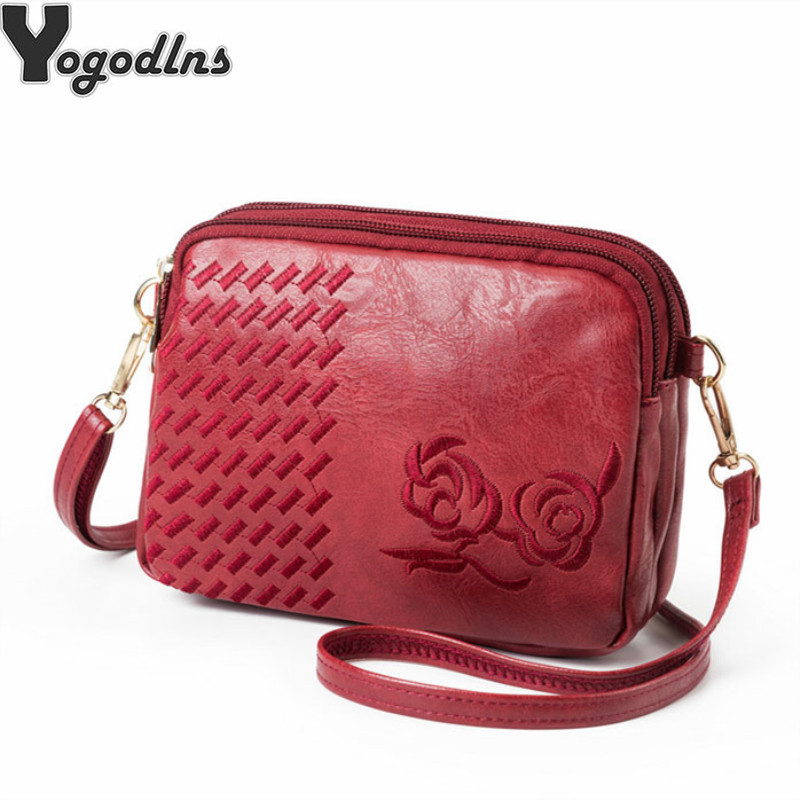 Multifunction Women Embroidery Flower Handbag Lady Crossbody Shoulder Bags For Female Mother Small Multi-zipper Messenger Bags