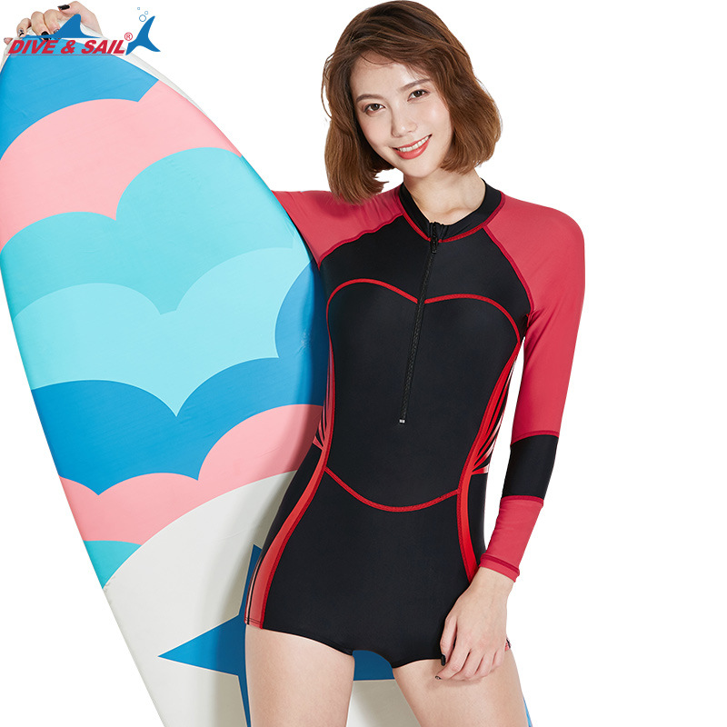ac03bc8951 Women's One Piece Long Sleeve UPF50+ Rash Guard Swimsuit Jump Boyleg  Swimming Suit Bathing Suits Sun UV Basic Wetsuit Shorty-in Rash Guard from  Sports ...