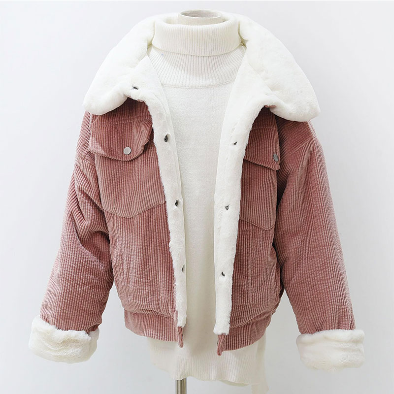 Wientr jacket Woman Corduroy Jacket Thick Short Lambswool Jacket Cotton Outerwear Basic Coat Warm Parka Female