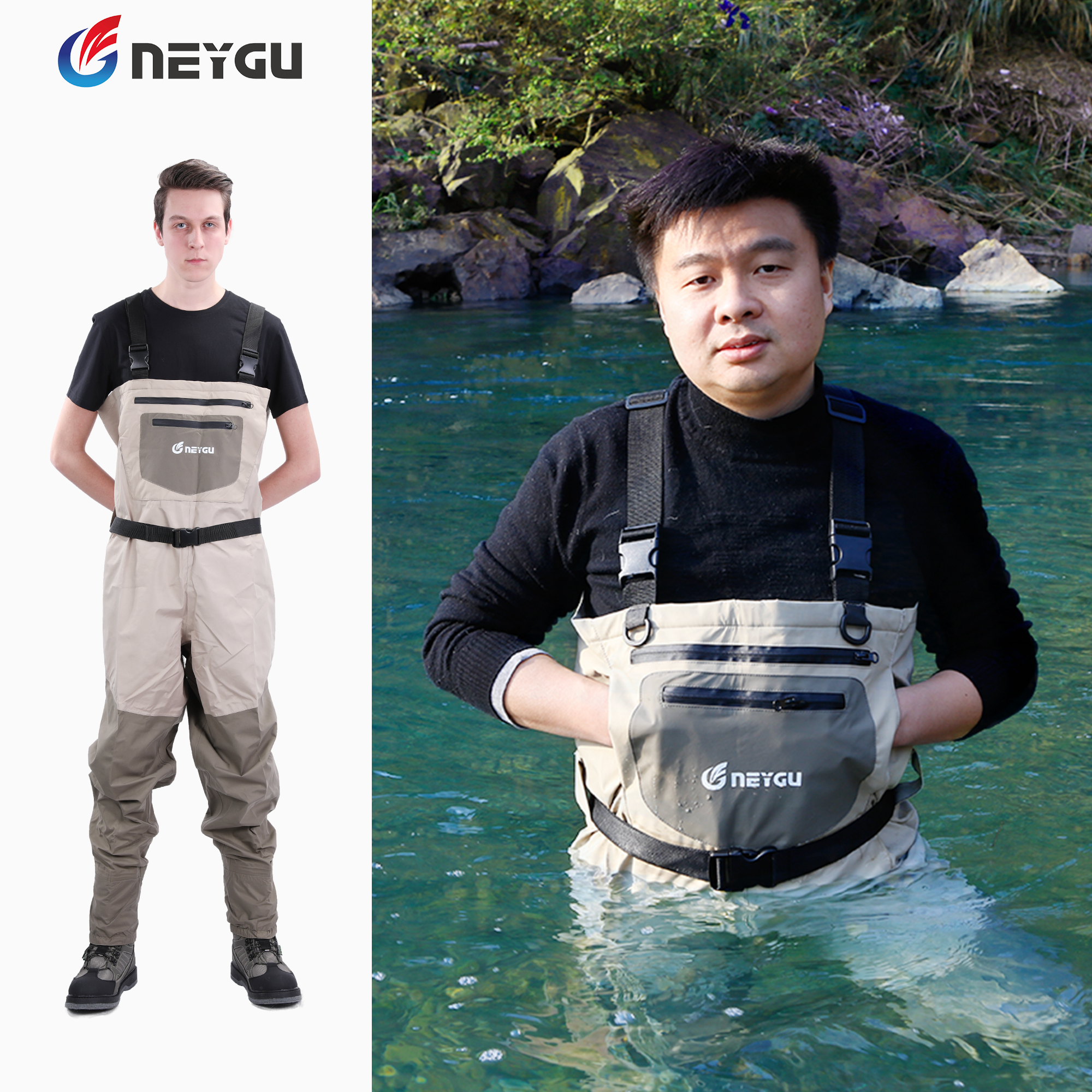 NEYGU outdoor fishing chest waders which is waterproof attached neoprene stockingfoot for hunting rafting swamp hiking