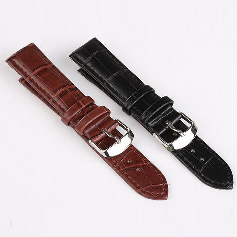 neway Durable Leather Watch Band Strap Wrist Watchband Wristwatch Black Brown for Man Woman 16mm 18mm 20mm 22mm neway stainless steel milanese watch band strap wrist watchband wristwatch buckle black rose gold silver 18mm 20mm 22mm 24mm