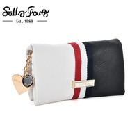2017 Sally Young International Brand Latest Women Wallet Long Purse Solid PU Snakeskin Patchwork Strip Metal