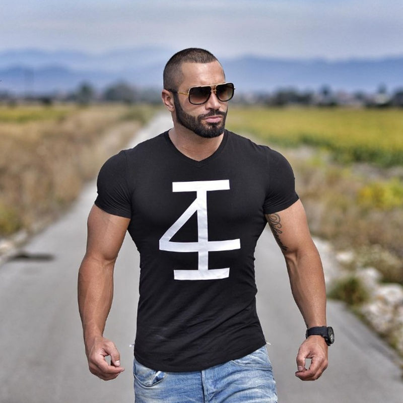 Brand men 39 s t shirt fitness and bodybuilding short sleeve Fitness shirts for men