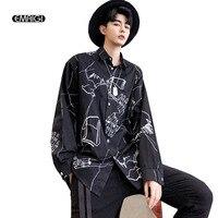 Graffiti Shirt Men Streetwear Hip Hop Fashion Casual Long Sleeve Shirts Male Dancing Clothes Black White Shirts