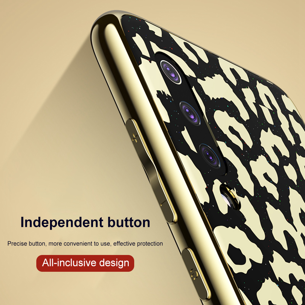 Image 4 - OTAO New Plating Glass Leopard Print Case For Xiaomi Mi 8 Lite 9 SE Soft TPU Edge Case For Xiaomi 8 Explorer Hard PC Cover Coque-in Fitted Cases from Cellphones & Telecommunications