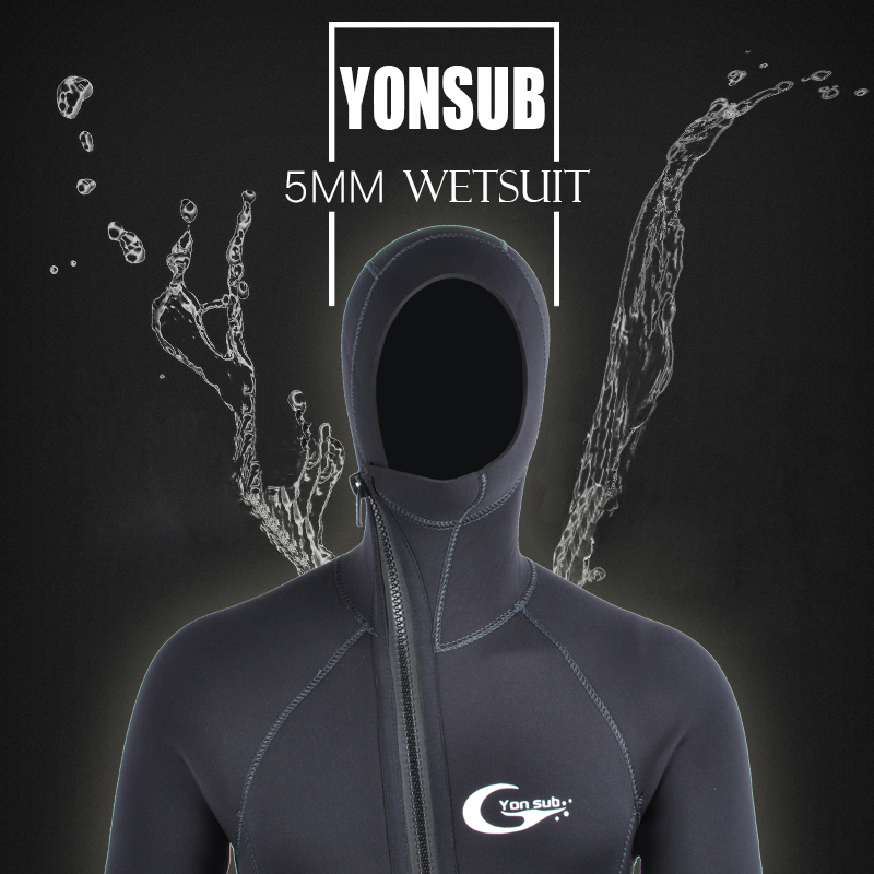 Semi-dry 5mm Front Zipper Swimwear Neoprene Scuba Diving Wetsuit With Hood Underwater Hunting Spearfishing Diving Suit For Man slinx two piece men camouflage wet suit swimwear with headgear 5mm neoprene camo scuba diving suit for fishermen spearfishing