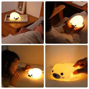 Image 2 - לילה אור רך סיליקון מיני LED מנורת אורות 5 V 1200 3000mahbattery נטענת צבעוני תאורה אינדוקטיביים חמוד בעלי החיים D  hb