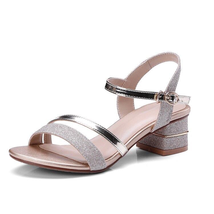 Mljuese 2018 여성 샌들 여름 스타일 골드 컬러 검투 블링 하이힐 펌프 여성 사이즈 34 43-에서중 힐부터 신발 의  그룹 1