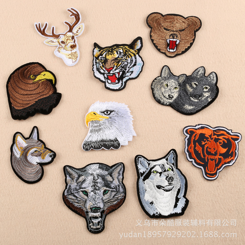 100pcs lot Iron on Embroidery Patches Clothing Accessories Bear Wolf Dog Eagle Tiger Clothing Accessories Biker Decoration in Patches from Home Garden
