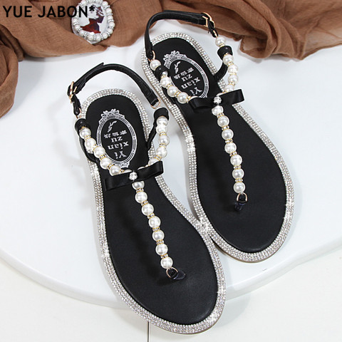 Women sandals 2018 new summer shoes flat pearl sandals comfortable string bead beach slippers casual sandals pink white black Islamabad