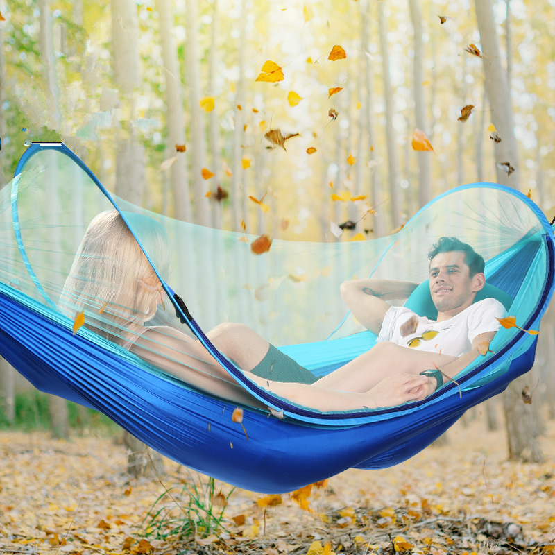 Image 2 - VILEAD Automatic unfolding Hammock Mosquito Stable Ultralight Portable Parachute Outdoor Camping Cot Sleeping Bed 260*150 cm-in Camping Cots from Sports & Entertainment