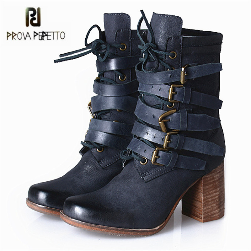 Prova Perfetto Fashion Pink Women Genuine Leather Ankle Boots Autumn Winter High Heel Botas Mujer Platform Rubber Shoes Woman prova perfetto winter women warm snow boots buckle straps genuine leather round toe low heel fur boots mid calf botas mujer