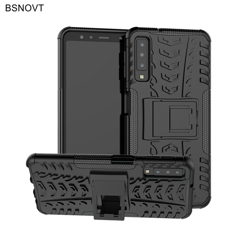For Samsung Galaxy A7 2018 Case Hard PC Silicone Armor Anti knock Case For Samsung Galaxy A7 2018 Cover For Samsung A7 2018 Case in Fitted Cases from Cellphones Telecommunications