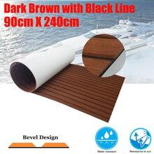 лучшая цена 2 Size Boat Decking Sheet With Bevel Yacht Marine Flooring Carpet EVA Anti Slip Teak Deck Mat Dark Brown Boats Accessories