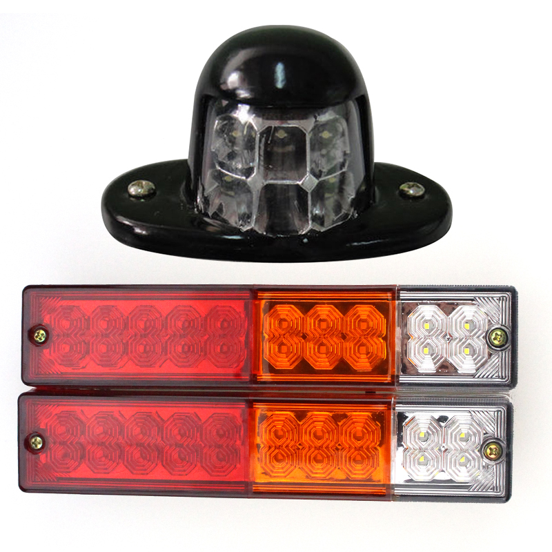 3PCs/set Car Truck 20 LED Trailer Truck RV Running Signal Reverse Brake Stop Lamps License Plate Light Replacement 2x 12v bright 3leds license plate light lamp bulbs number plate light for motorcycle boats aircraft automotive trailer rv truck