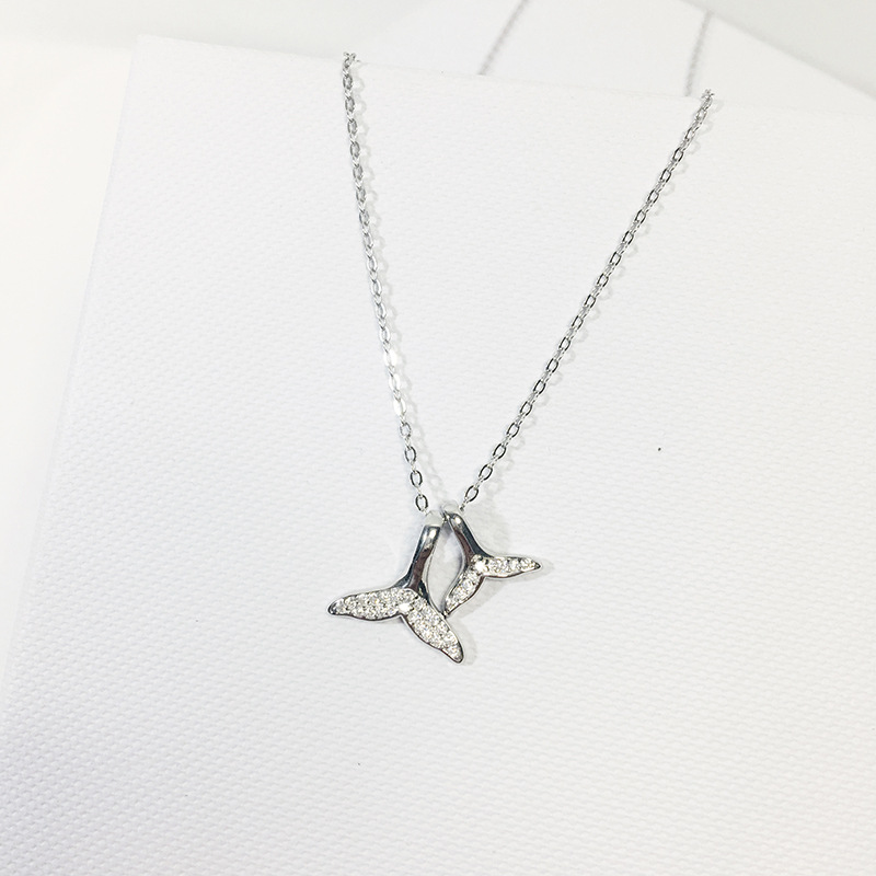 925 silver real Women sea Whale tail fish animal pendant Necklace Mermaid design for Korean European Jewelry Collier gift in Pendant Necklaces from Jewelry Accessories