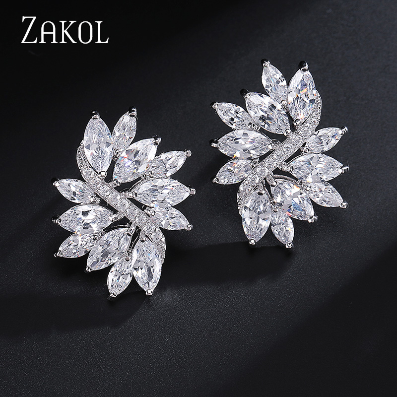 ZAKOL Delicate Cubic Zircon Crystal With Sliver Color Handmade Fashionable Flower Stud Earring For Women Wedding FSEP480 local focal fashionable handmade with delicate handbag