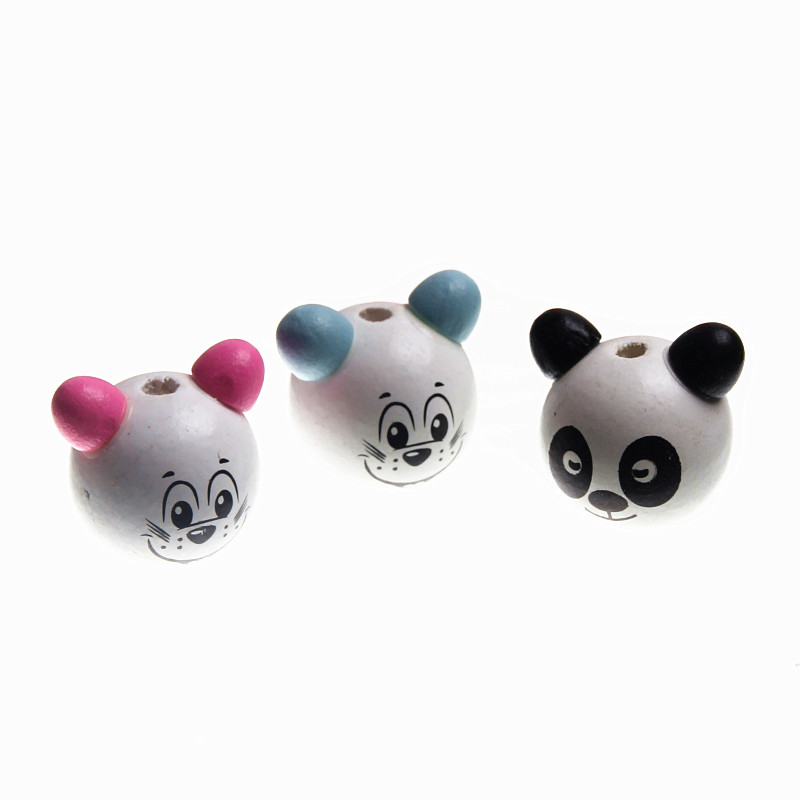 Spirited 20pcs Wooden Beads 3d Lovely Panda& Cat Smiling Face Beard Beads For Jewelry Making Diy Rattle Pacifier Clip Lollipop Attachme Harmonious Colors