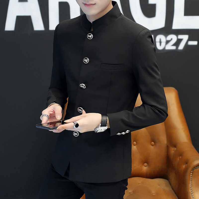2019 Spring Five-button Buckle Male Stand Collar Single-breasted Blazer Pure Color Can Not Afford The Ball Stand Collar Blazer