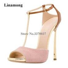 6d68c2431e08b4 Marque Design femmes mode Peep Toe métal talon aiguille pompes rose or  cheville sangle talons hauts chaussures habillées chaussu.