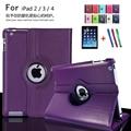 Para a apple ipad 2 ipad 3 ipad 4 caso tablet de 360 graus rotativa PU Estande De Couro Da Aleta Folio Capa + filme Protetor de Tela + caneta