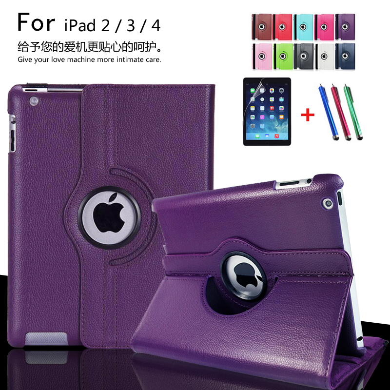 for Apple ipad 2 ipad 3 ipad 4 Tablet Case 360 Degree Rotating PU Leather Stand Flip Folio Screen Protector Cover + film + Pen 360 degree rotating flip case cover swivel stand for ipad mini 3 2 1 white