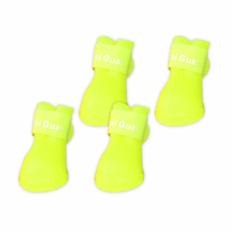 For Dogs 4Pcs/ Lot Dog Rain Shoes Dog Clothes Harness Candy Colors Boots Waterproof Booties Rubber Pet Household Supplies
