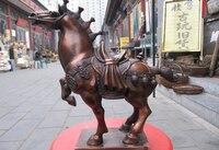 Коллекционный Бронзовый фигура льва S0551 Китайская красная бронза совмещает практичность favonian Lucky запускать бунт скачок боевой конь Художес