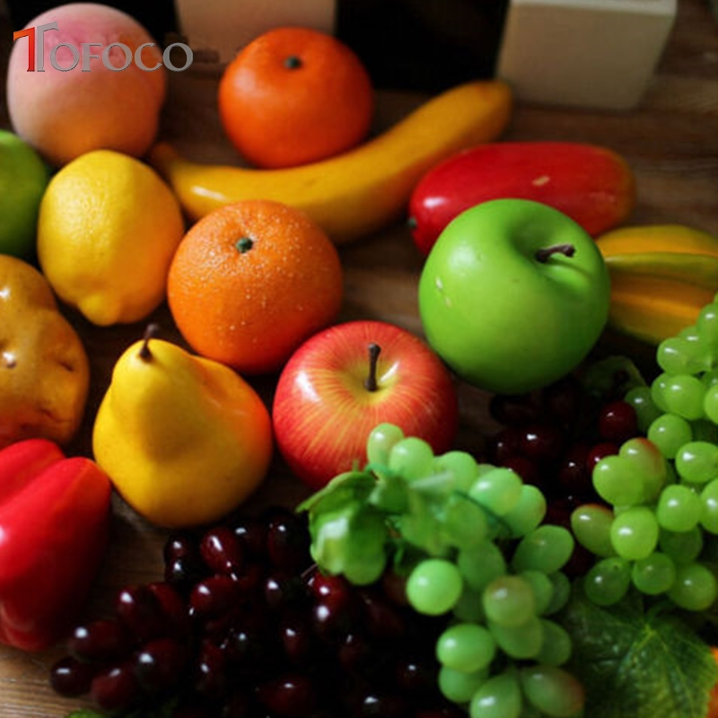 Tofoco Artificial Fake Fruit Apple Orange Eggplant Plastic Fruit Vegetables House Party Kitchen Decor
