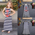 Fashion Children Kids Girls Clothing Dresses Sequins Anchor Brief Navy Striped Party Dress Maxi Sundress Casual 3 4 5 6 7 8Y