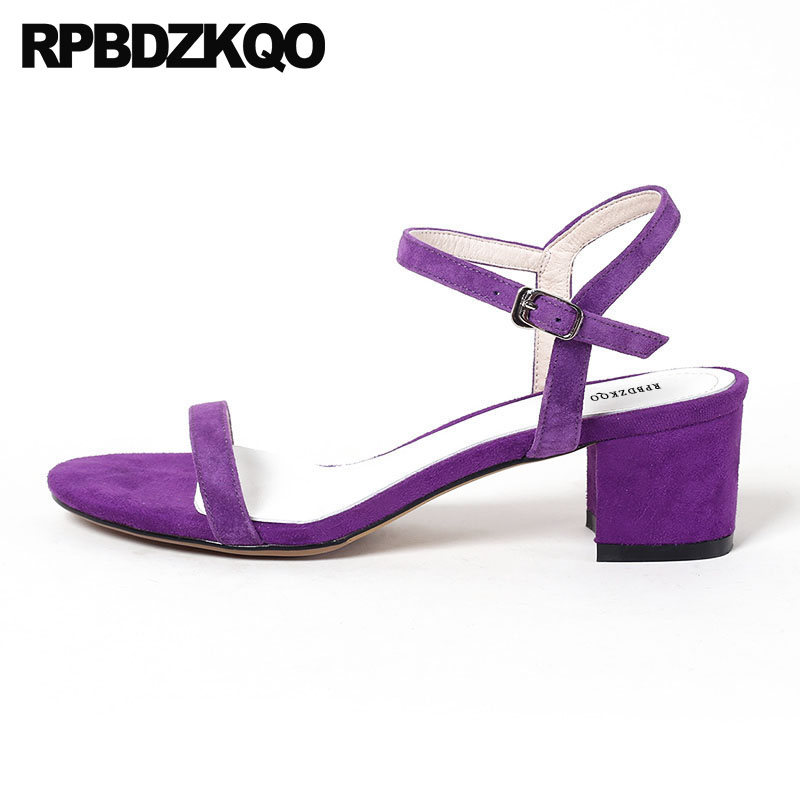 цены Designer Summer Two Strap Sandals Purple Block High Heels Suede Korean Square Genuine Leather Women Pumps Thick Shoes Slingback