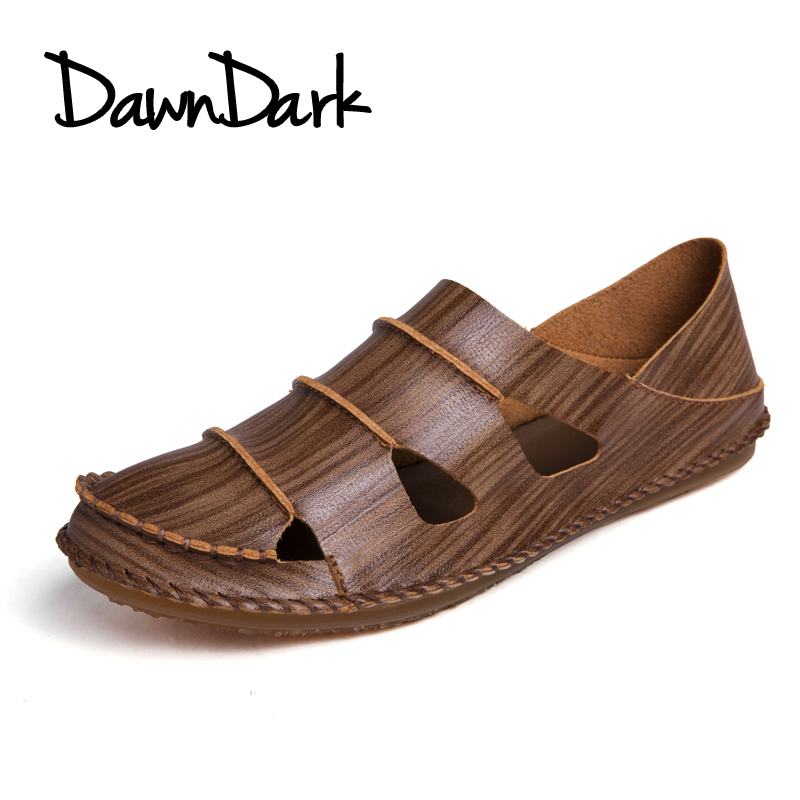 Genuine Leather Men Sandals Shoes Summer Man Beach Shoes Fashion Male Sandal Slip on Leather Casual Slippers