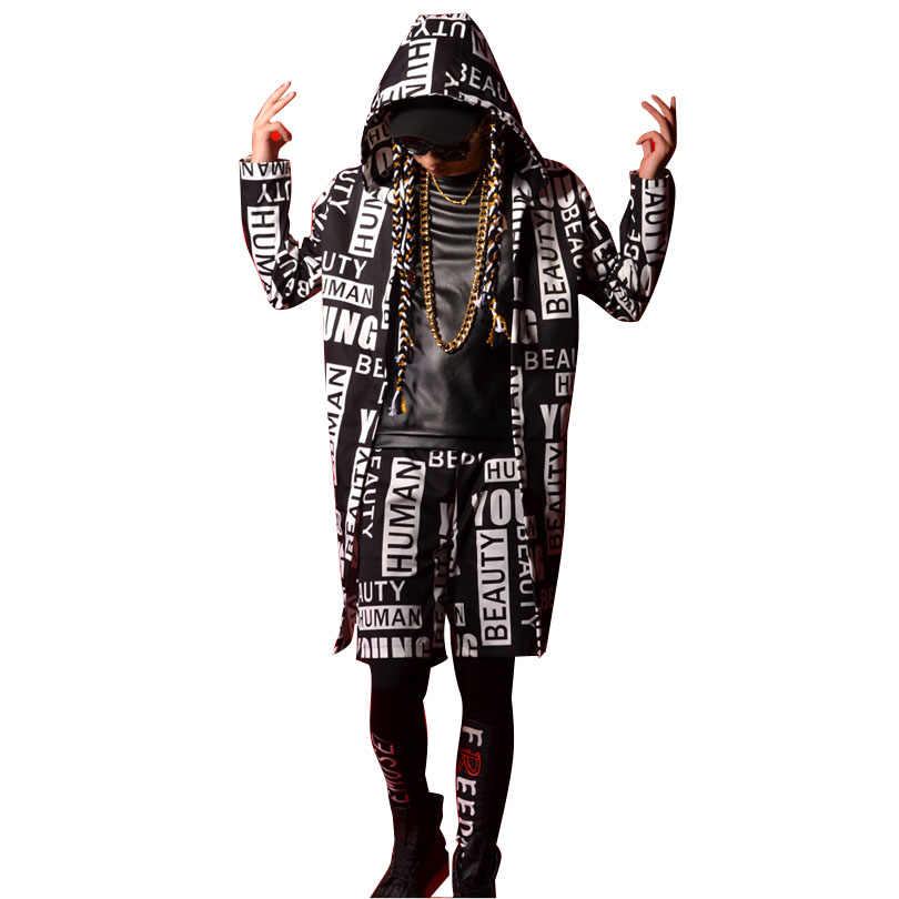 Tailor-made Men Fashion Hip Hop Long Hooded Trench Coat Male Streetwear Casual Cardigan Jacket Dancer Singer Stage Costumes