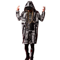 Tailor made Men Fashion Hip Hop Long Hooded Trench Coat Male Streetwear Casual Cardigan Jacket Dancer Singer Stage Costumes