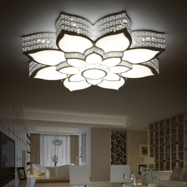 Modern LED Ceiling Lights Crystal Lotus Creative Iron White/Black Body Ceiling  Lamp For Bedroom
