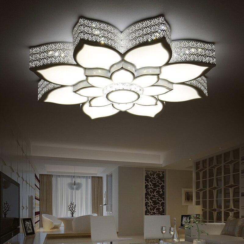 Moderne LED Plafonniers Cristal Lotus Creative Fer Blanc/Noir Corps Plafond Lampe Pour Chambre Salle À Manger lamparas de techo