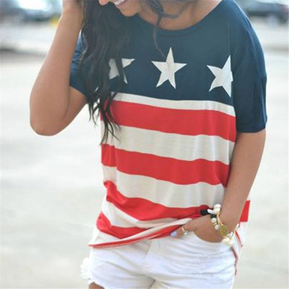 Women   T  -  Shirt   American Flag Star Striped Print O-Neck Short Sleeve 2018 Independence Day Top Female   Shirt   Girl Tops Casual Tees