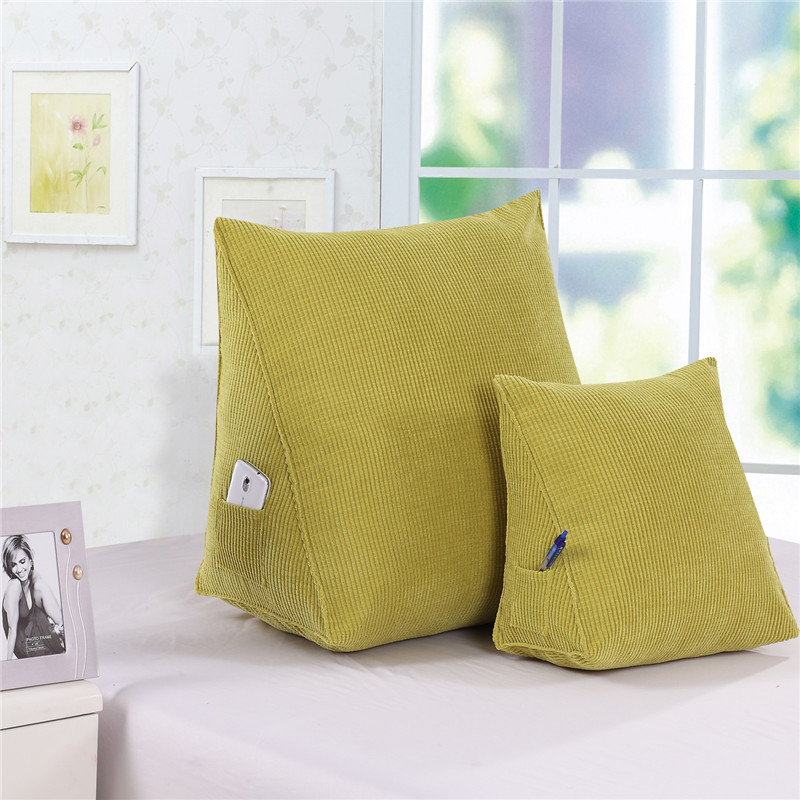 Back Cushion Triangular Pillows 60*50*30 Corn Cloth With Soft Nap Lumbar Pillow 40*30*20 Bedside Study Sofa Cushion Back Cushion