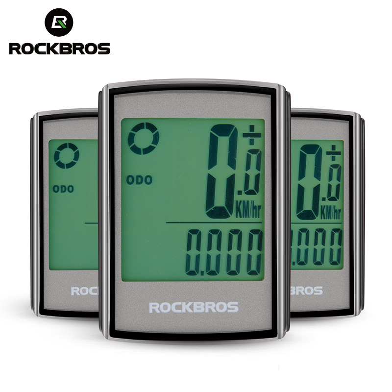 ROCKBROS Waterproof Bicycle Computer LCD Backlight Stopwatch Wireless Cycling Bike Computer Speedometer Odometer MTB Accessories стоимость