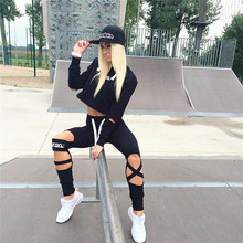 2017 New Women's Sports Suits Exercise Sets Girls Clothes Sport Pants+Fleece Letter Skinny Pencil Trousers Sexy Trainning abito