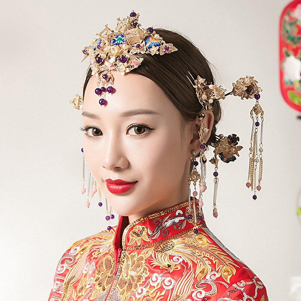 Chinese Style Bride Wedding Hair Ornaments Retro Tassel Headdress+Earrings Set