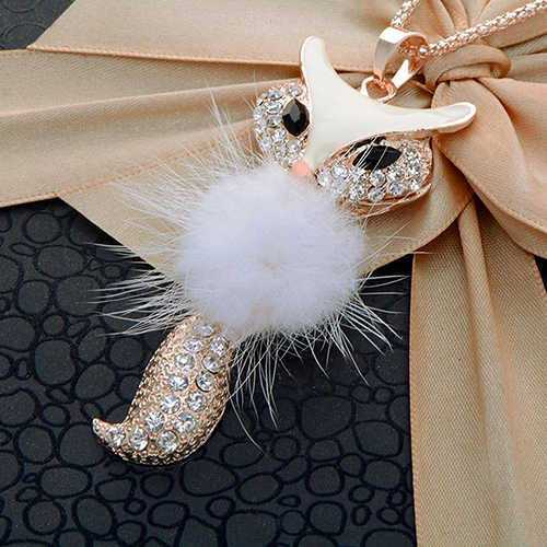 Hot sell Women's Rhinestone Feather Cute Fox Pendant Long statement necklaces & pendants W