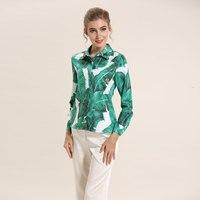 2017 Spring Summer Designer Blouses Women S High Quality Elegant Long Sleeve Green Leave Printed Beading