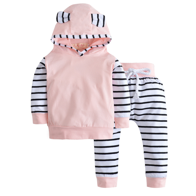 5c6e00811 Toddler Infant Newborn Baby Girls Clothes Set Long Sleeve Tops Hooded  Striped T-shirt+Pants Casual Clothing Baby Boy Outfits